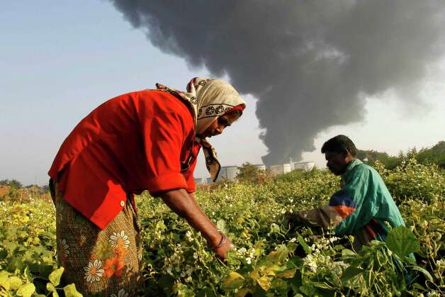 Indian villagers work at a vegetable farm as smoke rises from the storage tank of state-owned Indian Oil Corporation (IOC) that caught on fire on Saturday in Hajira near Surat, India, Sunday. Firefighters have been working to douse flames on the tank that caught fire. Photo: AP