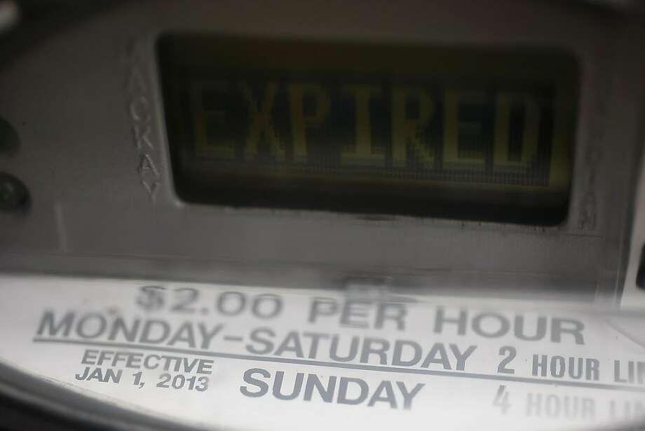 An expired parking meter along Broadway Street on January 6, 2013 in San Francisco, Calif. The San Francisco Municipal Transportation Agency began enforcing parking meters earlier this year, but voted on April 15, 2013 to end that policy. Photo: Sean Havey, The Chronicle