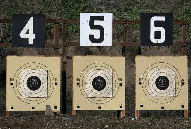Targets are set 200-yards down range for James MacMillan's training session for an upcoming shooting competition with his AR-15 semi-automatic rifle at the Richmond Rod & Gun Club in Richmond. Photo: Paul Chinn, The Chronicle
