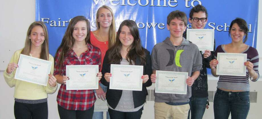 FALCONS OF THE MONTH Fairfield Ludlowe High School students who demonstrated the character trait of acceptance, part of the school's mission statement, were honored as Falcons of the Month for November. The students were nominated by friends and teachers and were awarded certificates by their headmaster,Greg C. Hatzis.  The November honorees are, from left, Mia Hogue, Hope Dieffenbach, Kathleen McAuliffe, Vanessa Ricchetti, James Purcell, Alex Esposito and Ryann Casey. Photo: Contributed Photo / Fairfield Citizen contributed