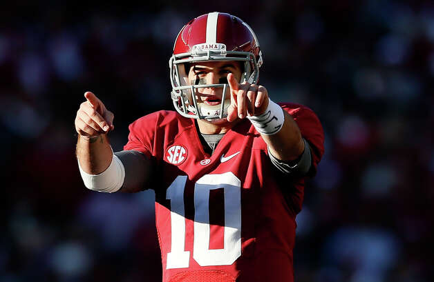 AJ McCarron #10 of the Alabama Crimson Tide calls out the Auburn Tigers defense at Bryant-Denny Stadium on November 24, 2012 in Tuscaloosa, Alabama.  (Photo by Kevin C. Cox/Getty Images) Photo: Kevin C. Cox, EN / 2012 Getty Images