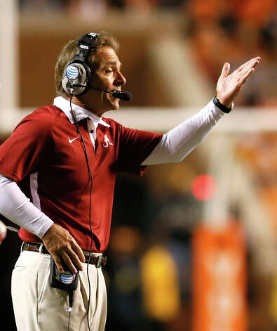 Head coach Nick Saban of the Alabama Crimson Tide yells to his team against the Tennessee Volunteers at Neyland Stadium on October 20, 2012 in Knoxville, Tennessee.  (Photo by Kevin C. Cox/Getty Images) Photo: Kevin C. Cox, EN / 2012 Getty Images
