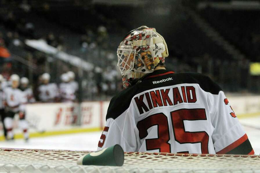 Albany Devils goalie Keith Kinkaid scans the ice during during the second period against Binghamton
