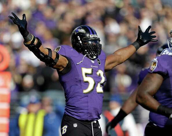 Baltimore Ravens inside linebacker Ray Lewis (52) celebrates after a play during the first half of an NFL wild card playoff football game against the Indianapolis Colts Sunday, Jan. 6, 2013, in Baltimore. (AP Photo/Patrick Semansky) Photo: Patrick Semansky