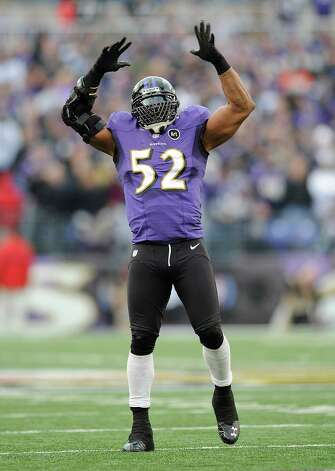 Baltimore Ravens inside linebacker Ray Lewis (52) dances near the end of the second half of an NFL wild card playoff football game against the Indianapolis Colts, Sunday, Jan. 6, 2013, in Baltimore. Baltimore won 24-9. (AP Photo/Nick Wass) Photo: Nick Wass