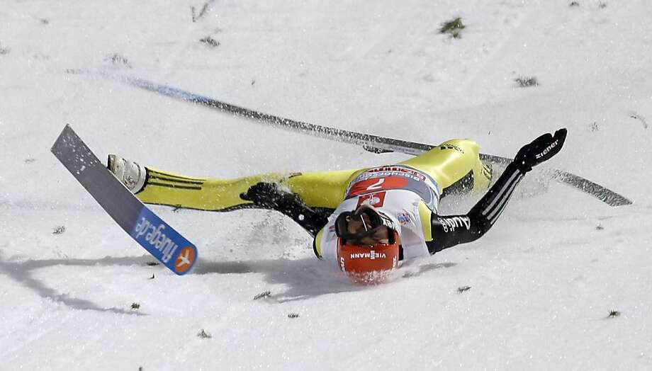 Germany's Andreas Wellinger crashes during his competition jump at the fourth stage of the four hills ski jumping tournament in Bischofshofen, Austria, Sunday, Jan. 6, 2013. Photo: Matthias Schrader, Associated Press