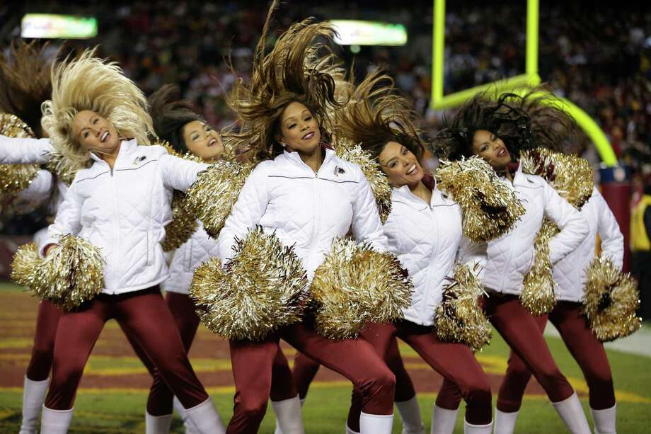 The Washington Redskins cheerleaders perform during the second half of an NFL wild card playoff football game against the Seattle Seahawks in Landover, Md., Sunday, Jan. 6, 2013. Photo: AP