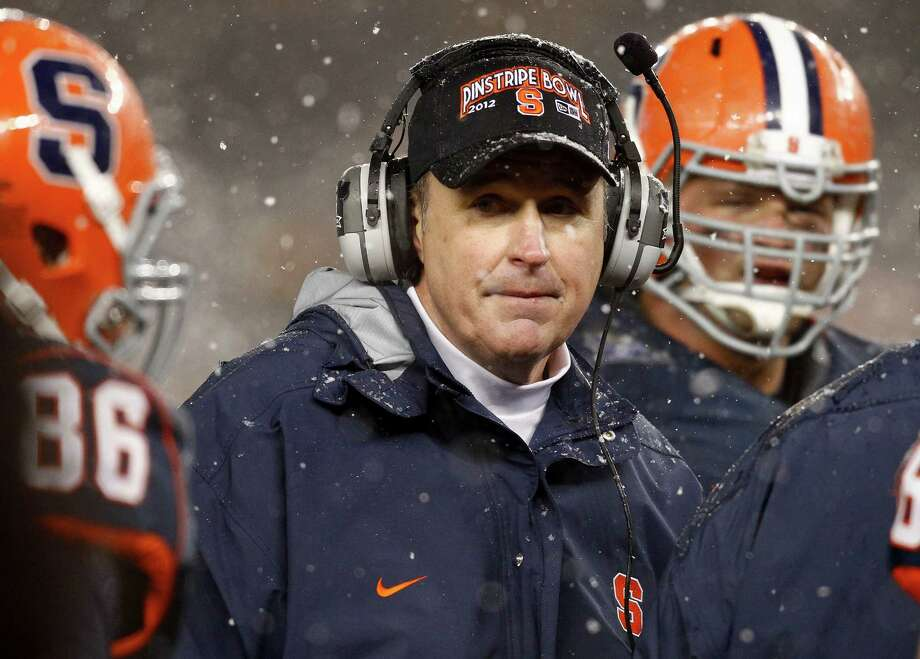 NEW YORK, NY - DECEMBER 29: Head coach Doug Marrone of the Syracuse Orange works on the sidelines against the West Virginia Mountaineers  in the New Era Pinstripe Bowl at Yankee Stadium on December 29, 2012 in the Bronx borough of New York City.  (Photo by Jeff Zelevansky/Getty Images) Photo: Jeff Zelevansky, Stringer / 2012 Getty Images