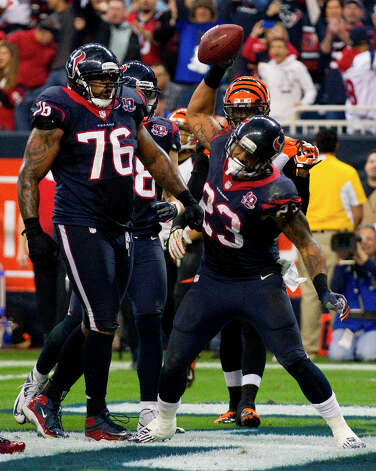 Jan. 5Texans 19, Bengals 13 (wild card round)The Texans followed Arian Foster's lead as they beat the Bengals for the second consecutive year at Reliant Stadium in the wild card round of the NFL playoffs. Foster rushed for 140 yards on 32 carries - one of them resulting in a touchdown. Photo: Brett Coomer, Houston Chronicle / © 2013  Houston Chronicle