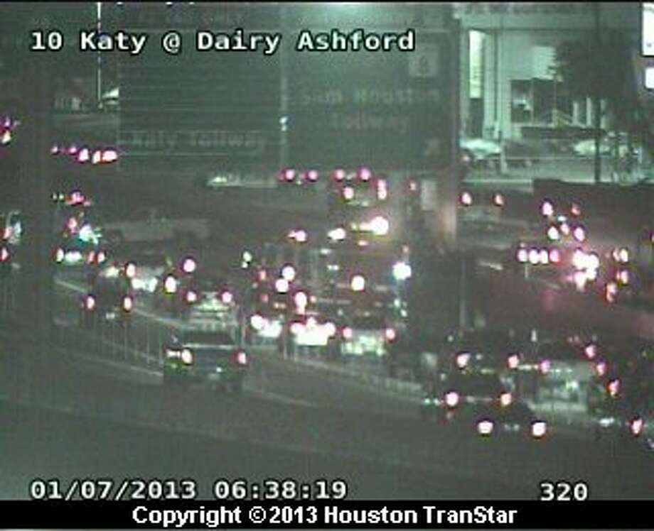 Traffic was snarled after a wreck on eastbound Katy Freeway near west Beltway 8 about 6:20 a.m. Monday. Photo: Houston Transtar