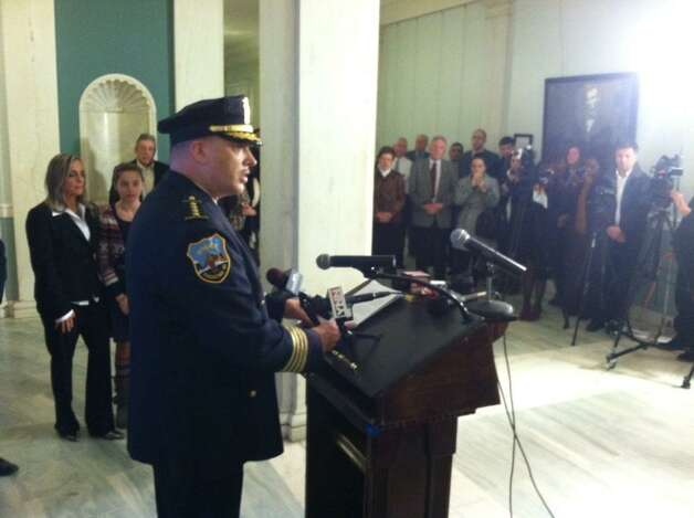 Brian Kilcullen speaks at a news conference Monday in Schenectady's City Hall minutes after taking the oath of office. (Skip Dickstein / Times Union)