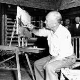 When he wasn't trout fishing or busy over the cabin's electric stove, Gen. Dwight D. Eisenhower devoted a good deal of his time to his oil painting during his vacation in the Colorado mountains.  On July 23, 1952, the Republican presidential nominee showed reporters six paintings he had completed since starting his vacation the week before.