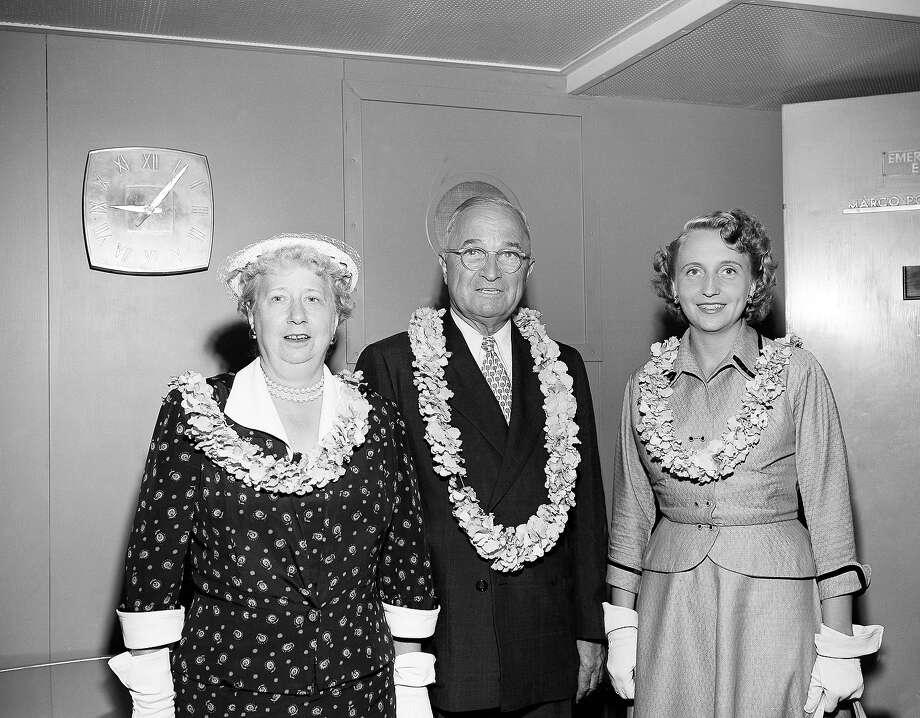 Former President Harry S Truman with his wife Bess and daughter Margaret in the lounge of the American President Lines' President Cleveland, April 28, 1953, before sailing for San Francisco and home after a one-month Hawaiian vacation. Photo: Associated Press / Associated Press