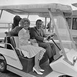 President Richard Nixon and Pat Nixon ride in a golf cart near their home in Key Biscayne, Fla. on June 2, 1972. They had recently returned from a 13-day trip to the Soviet Union and other countries.