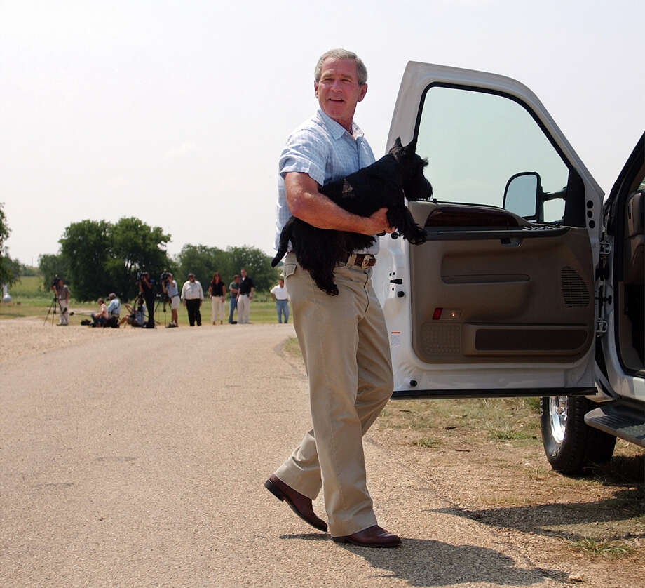 President Bush carries his dog Barney into his pickup truck before driving back to his ranch house after meeting the press on the ranch in Crawford, Texas on Aug. 13, 2003.  Bush appeared before the press with his team of economic advisers after meeting with them on his August vacation. Photo: Associated Press / Associated Press
