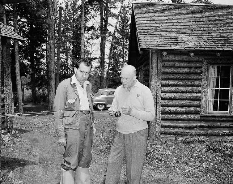 The Republican presidential nominee, Gen. Dwight D. Eisenhower (right), shows his running mate, Cali