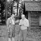 The Republican presidential nominee, Gen. Dwight D. Eisenhower (right), shows his running mate, California Sen. Richard M. Nixon, how to cast for fish and bring them in during an interlude at Eisenhower's vacation retreat near Fraser, Colo. on July 27, 1952.   Ike ended his vacation the next day when he and Nixon, GOP vice presidential nominee, conferred on campaign strategy.