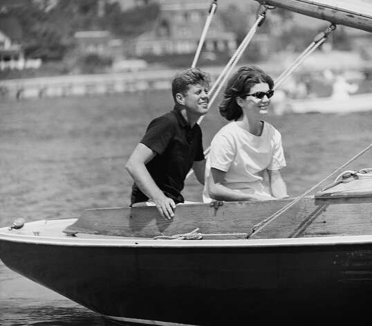 Democratic presidential nominee Sen. John F. Kennedy and wife Jacqueline in cockpit of their sailboat, Victura, at Hyannis Port, Mass., Aug. 7, 1960. The senator took advantage of ideal weather to get in some sailing before leaving for Washington. Photo: Associated Press / Associated Press