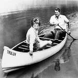 Ronald Reagan takes his wife Nancy for a canoe ride on a pond at their mountaintop ranch near Santa Barbara, Calif., July 27, 1976, after announcing in Los Angeles that he had selected liberal Republican U.S. Sen. Richard S. Schweiker as his vice presidential running mate if nominated at the GOP National Convention in Kansas City.