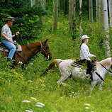 President Bill Clinton and daughter Chelsea take a horseback ride on Grouse Mountain in the resort town of Beaver Creek, Colo., Aug. 15, 1993.  The president wrapped up a two-day vacation in the Rockies when he left Colorado to attend the Democratic Governor's Association meeting in Tulsa, Okla.