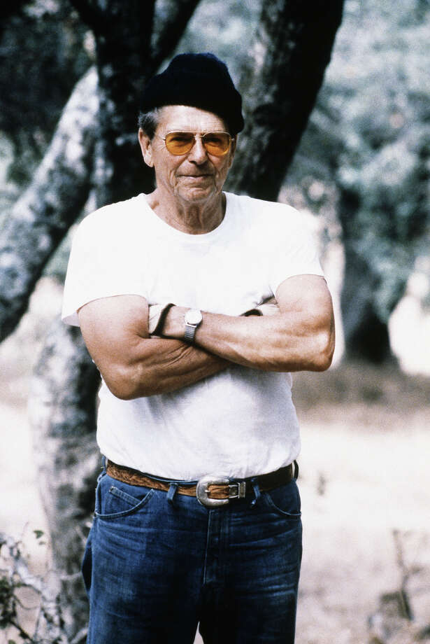 Reagan does his best Charles Bronson impersonation on his California ranch in 1984. Photo: Associated Press / Associated Press