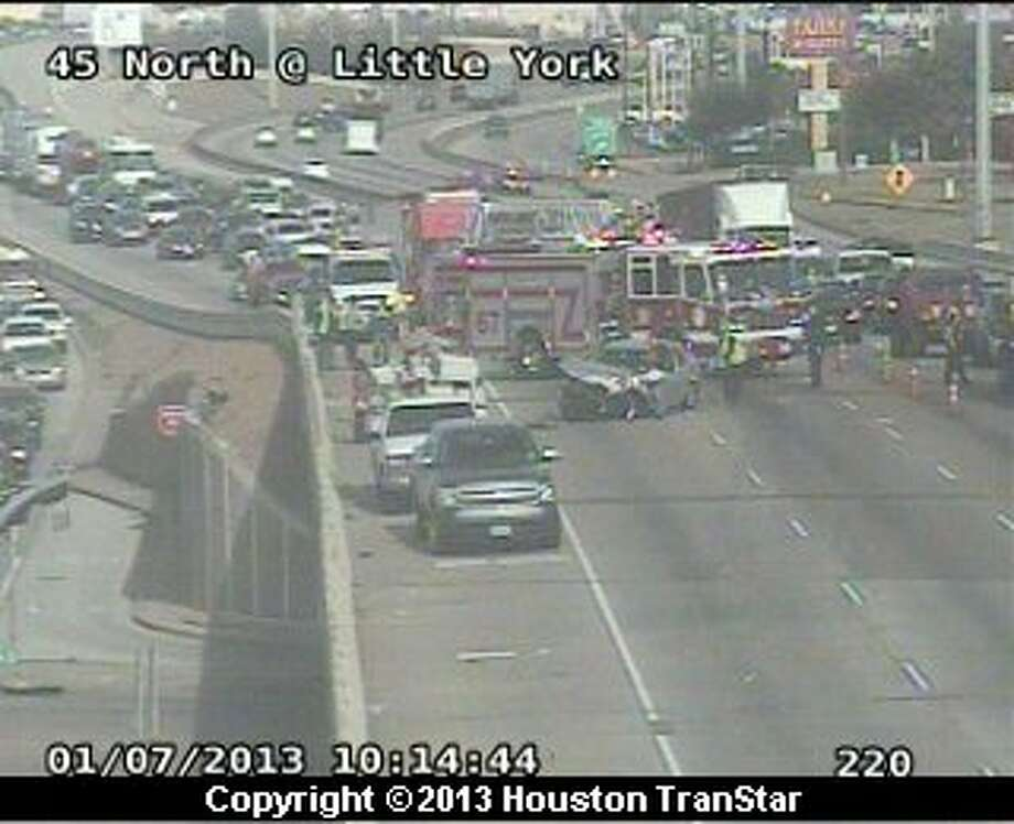 Traffic was backed up on portions of Interstate 45 in north Houston after a crash Monday morning. Photo: Houston Transtar