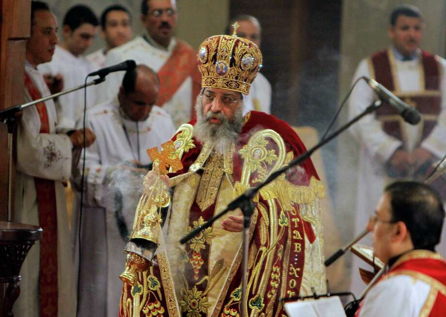 Pope Tawadros II, the 118th pope of the Coptic Church of Egypt, leads a midnight Mass on the eve of Orthodox Christmas at St. Mark's Cathedral in Cairo, Egypt, late Sunday Jan. 6, 2013. Photo: Amr Nabil, AP / AP