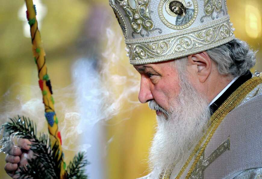 Russian Patriarch Kirill delivers a Christmas service at the cathedral of Christ of  Savior, in Mosc
