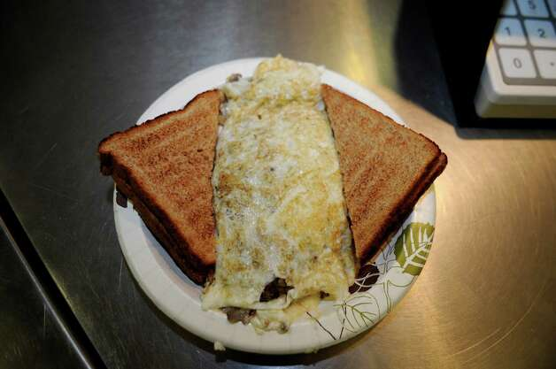 Omelet made with egg white in the cafeteria at Greenwich High School Wednesday, Feb. 1, 2012. Photo: Helen Neafsey / Greenwich Time