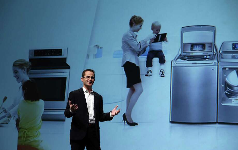 James Fishler, LG Electronics USA Senior Vice President of Marketing, speaks during a press conference. Home appliances are a big part of the show, too. Photo: Justin Sullivan, Getty Images / 2013 Getty Images