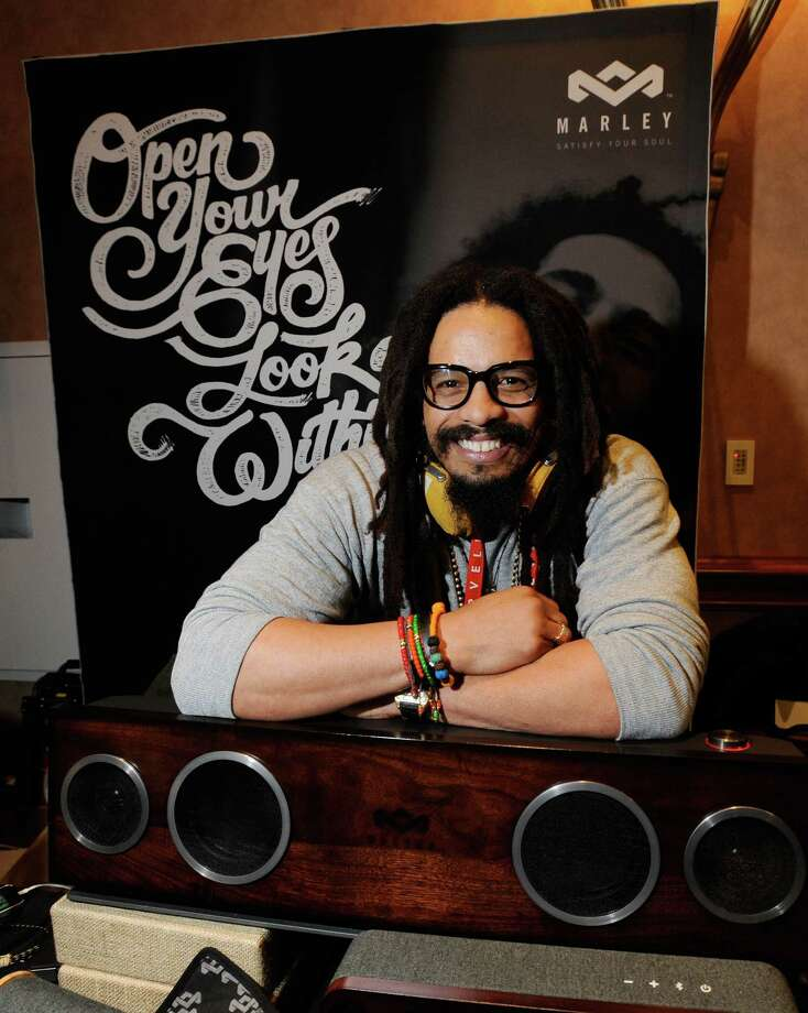 Rohan Marley, a son of late reggae musician Bob Marley, displays the One Foundation speaker system from the House of Marley at a press event Sunday. Photo: David Becker, Getty Images / 2013 Getty Images