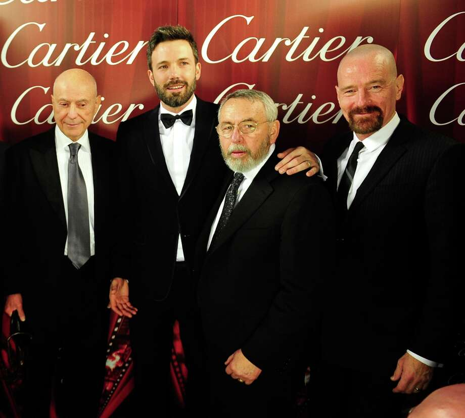 (L-R) Actors Alan Arkin, Ben Affleck, Palm Springs Film Festival Chairman Harold Matzner, and actor Bryan Cranston attend the 24th annual Palm Springs International Film Festival Awards Gala at the Palm Springs Convention Center on January 5, 2013 in Palm Springs, California. Photo: Jerod Harris / 2013 Getty Images