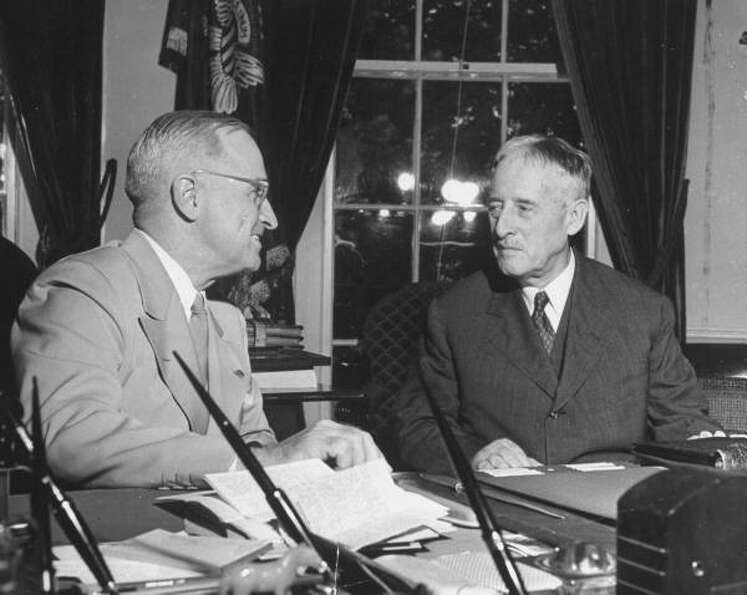 President Harry Truman and Secretary of War Henry Stimson, 1945. (National Archives)