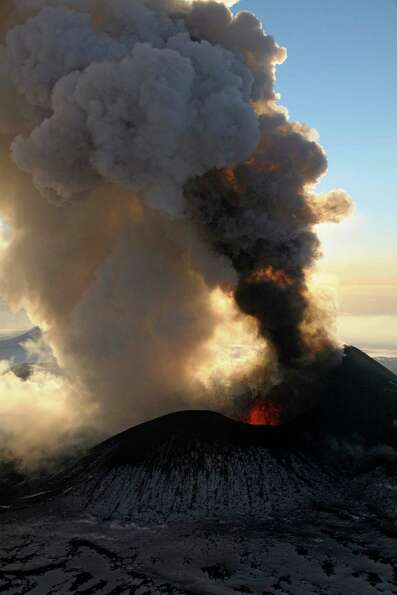 In this photo taken on Sunday, the Plosky Tolbachnik volcano erupts in Russia's Far Eastern Kamchatk
