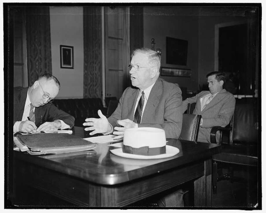 Secretary of Interior Harold Ickes appearing before the House Rivers and Harbors Committee to ask congressfor full control over the Bonneville Dam project in Oregon, Jul. 18, 1939, Washington, D.C. (Library of Congress)