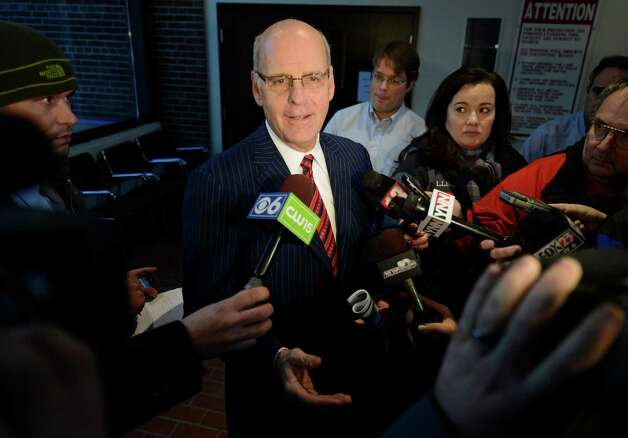 Attorney Stephen Coffey speaks during an impromptu  press conference on the subject of the indictments against his client Dennis Drue at the Saratoga County Courthouse in Ballston Spa, N.Y. Jan. 7, 2013.  (Skip Dickstein/Times Union) Photo: SKIP DICKSTEIN / 00020670A
