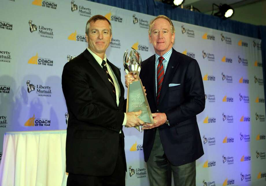 IMAGE DISTRIBUTED FOR LIBERTY MUTUAL INSURANCE - 2012 Liberty Mutual Coach of the Year Award winner Willie Fritz, Sam Houston State, poses for photos with Archie Manning (R) at the 2012 Liberty Mutual Coach of the Year Award Winners Announcement, on Monday, Jan. 7, 2013 in Ft. Lauderdale, Fla. (Photo by Marc Serota/Invision for Liberty Mutual Insurance/AP Images) Photo: Marc Serota, Associated Press / Invision
