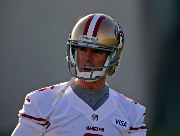 San Francisco 49ers' Billy Cundiff looks on during workouts at an NFL football practice in Santa Clara, Calif., Thursday, Jan. 3, 2013. Cundiff signed a one-year contract on Tuesday with the NFC West champion 49ers to compete with David Akers to handle the kicking duties for San Francisco in the NFC divisional playoffs Jan. 12. (AP Photo/Marcio Jose Sanchez) Photo: Marcio Jose Sanchez, Associated Press / AP