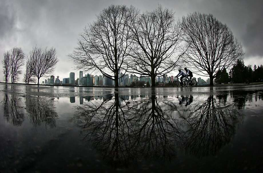 Puddle pedalers: Cyclists ride through Stanley Park in Vancouver, British Columbia, despite a steady rain. Photo: Darryl Dyck, Associated Press