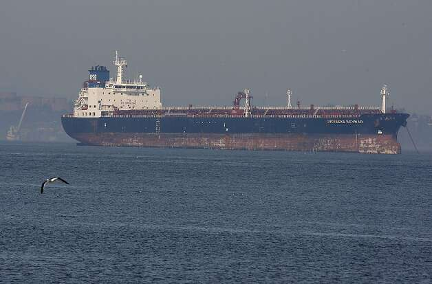The tanker Overseas Reymar collided with the Bay Bridge on January 7, 2013 in San Francisco, Calif. Photo: Sean Havey, The Chronicle