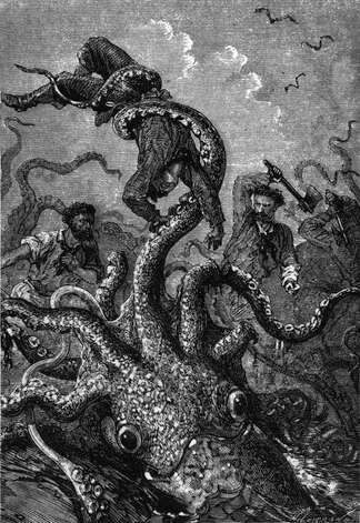 A sea monster attacks a ship in an illustration for 20,000 Leagues Under the Sea by Jules Verne.