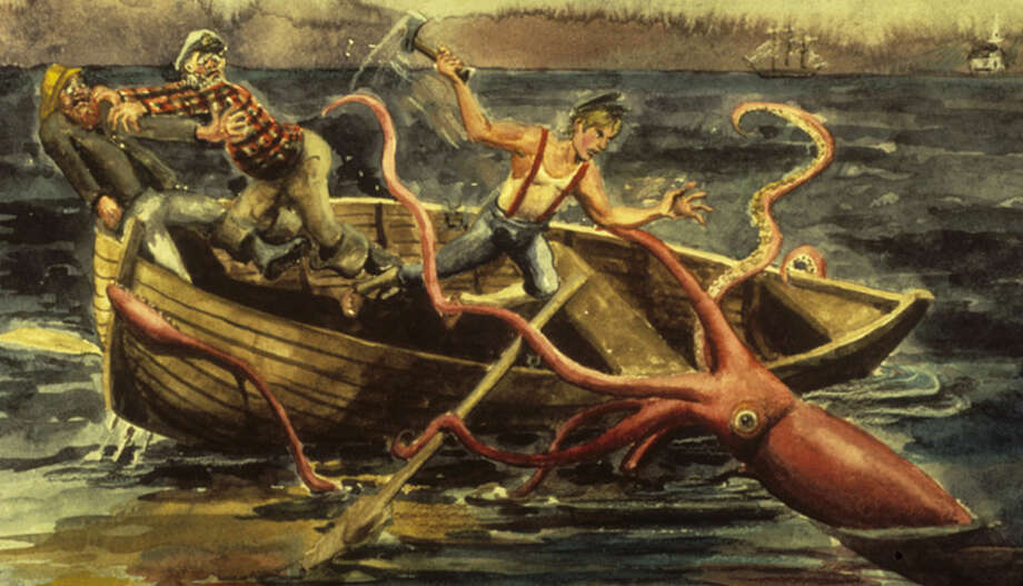 A giant squid attacks a boat - something that has not been known to happen in real life. CREDIT: ©Martin G. Roper via the Smithsonian