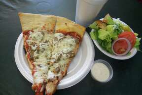 Pizza, salad and drink special at Cerroni's Purple Garlic.