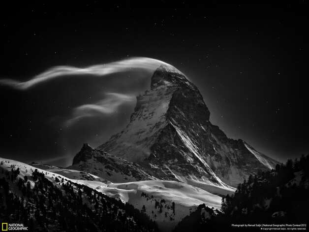 "Winner in the ""places"" category: ""The Matterhorn""Photographer: Nenad SaljicLocation: Zermatt, SwitzerlandSaljic: ""The Matterhorn 4478 m at full moon."" Photo: Nenad Saljic / 2012 National Geographic Photography Contest"