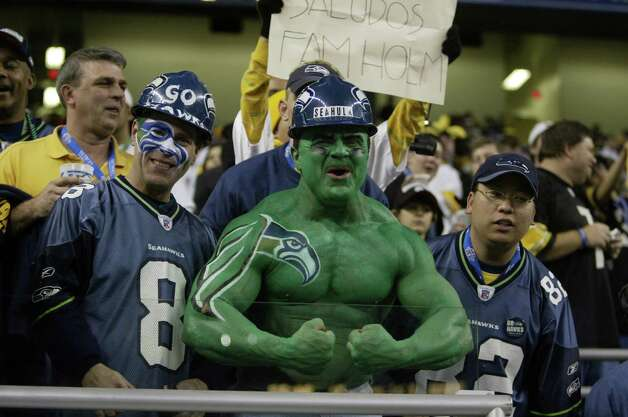 Seahawks fans dressed up -- er, down -- for the occasion. Photo: Mike Urban/seattlepi.com/MOHAI / Seattle Post-Intelligencer