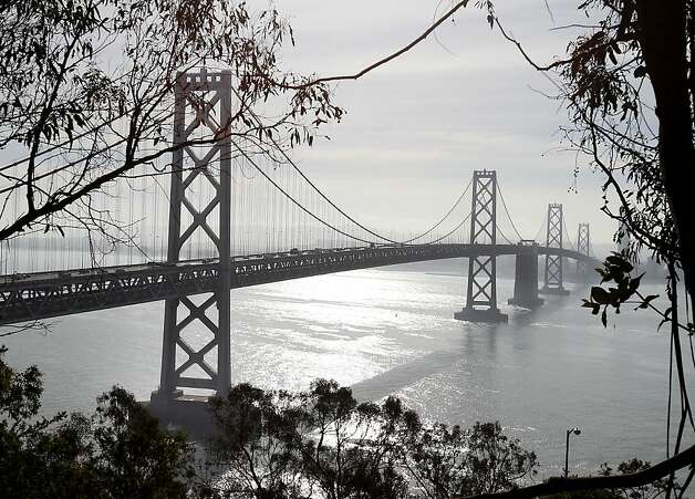 A view of the west span of the Bay Bridge, the tanker struck the tower on the left. An oil tanker struck the Bay Bridge Monday January 7, 2013.  Early assessment showed minor damage and the bridge remained open. Photo: Brant Ward, The Chronicle