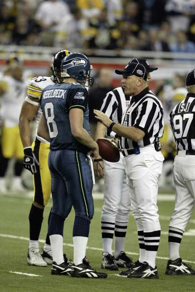 Hasselbeck pleads his case to the officials.