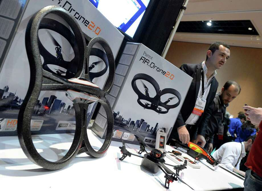 French Parrot introduces their automatic 4 rottor flying drones during the opening event ''CES Unveiled''  during the  International Consumer Electronics Show (CES) in Mandalay Bay Hotel resort on January 06, 2013 in Las Vegas, Nevada.AFP PHOTO / JOE KLAMARJOE KLAMAR/AFP/Getty Images Photo: JOE KLAMAR, Getty Images / AFP