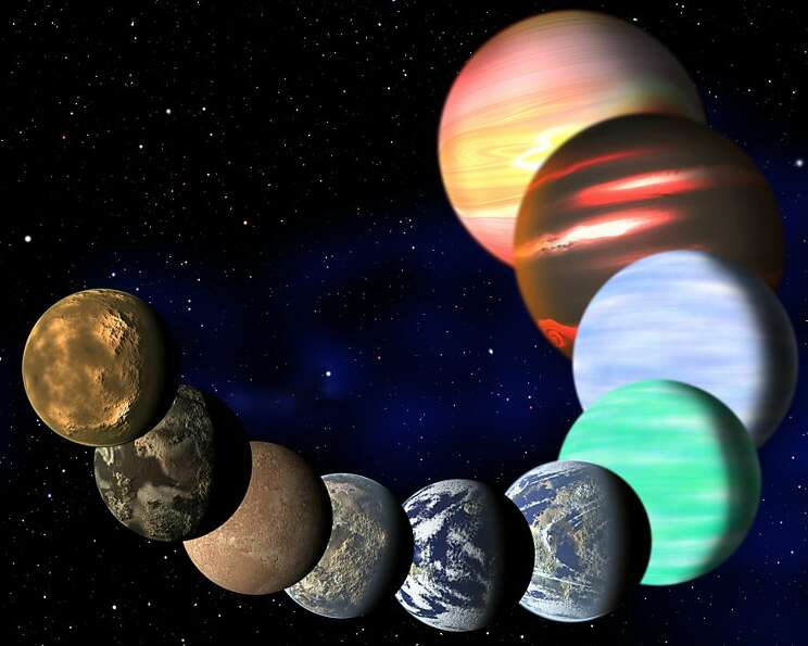 An artist's rendering shows the different types of planets that NASA's Kepler spacecraft has detecte
