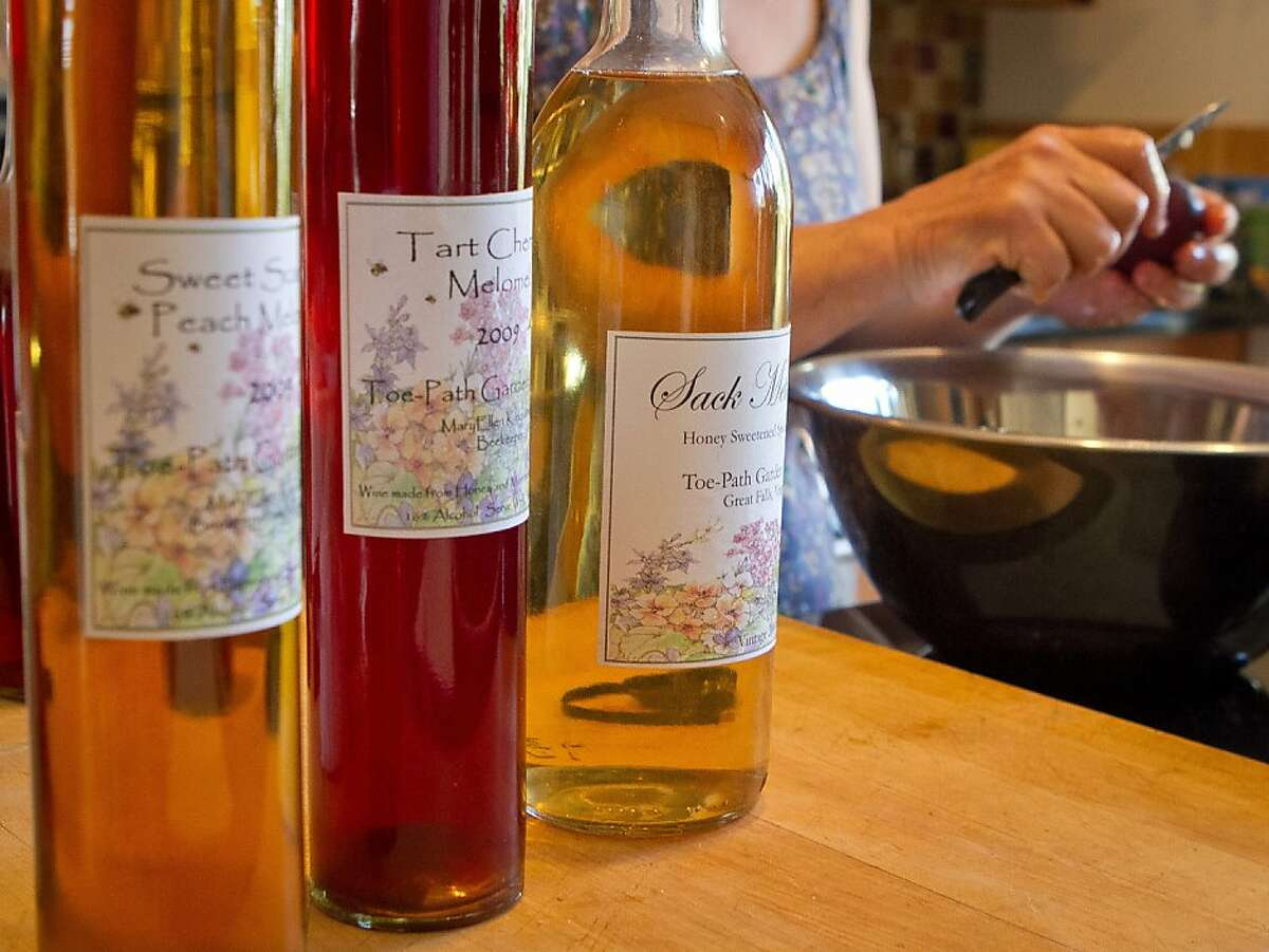 Some earlier vintages of fruit Melomel made from honey and fruit made by MaryEllen Kirkpatrick in San Francisco, Calif., on Tuesday, July 31st, 2012.